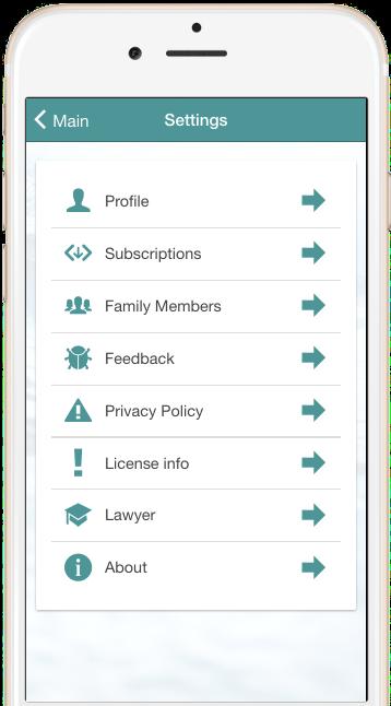 Truece Settings Menu | Truce Divorce, Custody, Co-Parenting App